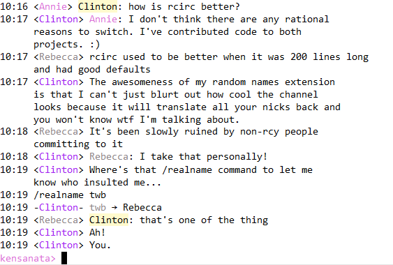 rcirc: Random Names